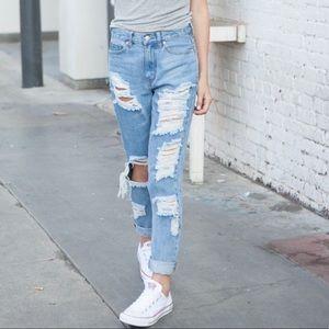 SOLD Brandy Melville Medium Wash Distressed Jeans